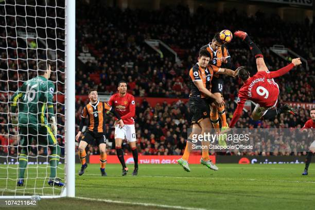 1st February 2017 Premier League Manchester United v Hull City Zlatan Ibrahimovic of Man Utd tries a spectacular overhead kick as Harry Maguire of...