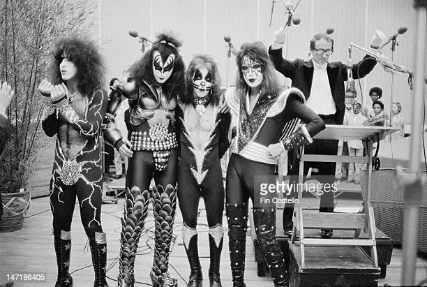 American rock group Kiss posed at the Record Plant recording studio in New York in February 1976 Left to right Paul Stanley Gene Simmons Peter Criss...