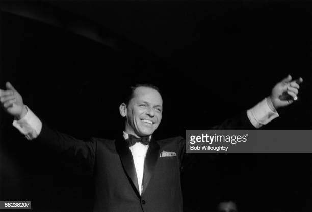 American singer and actor Frank Sinatra performs live on stage at the Sands hotel in Las Vegas USA in February 1960