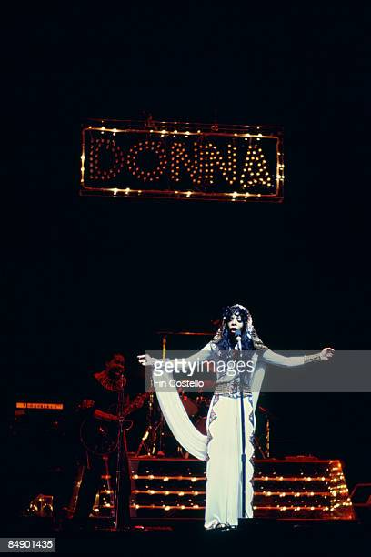 1st FEBRUARY: American singer Donna Summer performs live on stage at Radio City Music Hall in New York in February 1976.