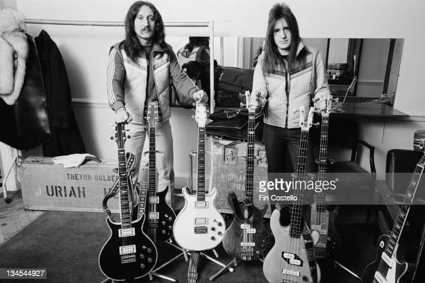 Guitarist Mick Box and bassist Trevor Bolder from English rock band Uriah Heep posed backstage with their guitars in London in February 1980