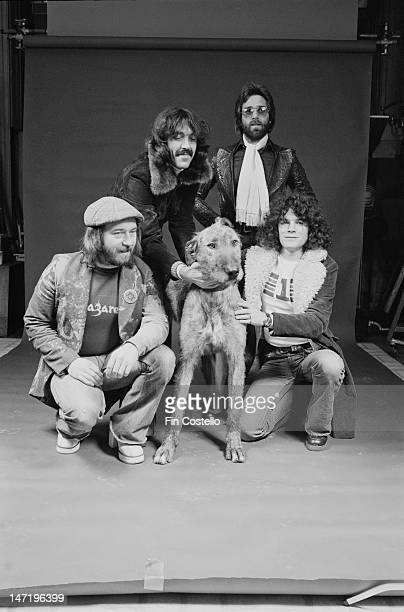 Scottish rock band Nazareth posed with a dog in New York in February 1976 Left to right bassist Pete Agnew guitarist Manny Charlton drummer Darrell...