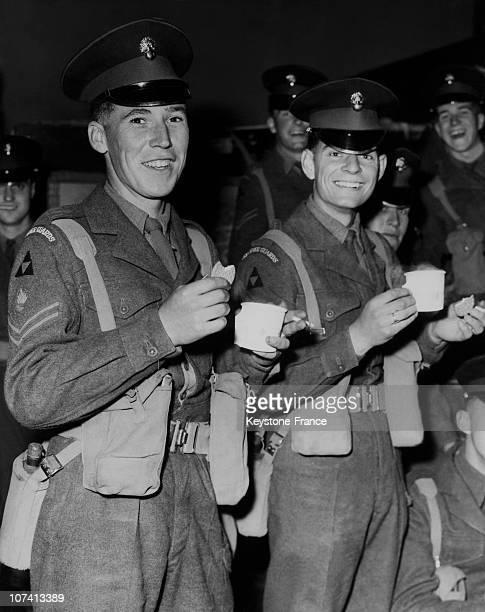 1St Guards Brigade Drinking Tea While Waiting To Leave For Cyprus At Abingdon In United Kingdom On June 1958