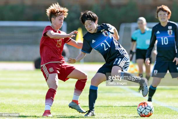 Hikaru Kitagawa of Japan Women challenges Amanda Sampedro Bustos of Spain Women during the match between Japan v Spain Women's Algarve Cup on March...
