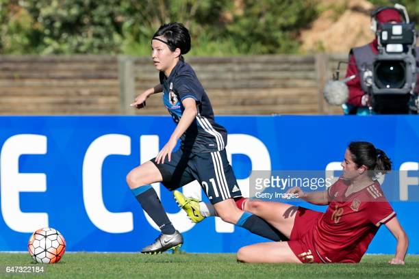 Hikaru Kitagawa of Japan Women challenges Marta Torrejón Moya of Spain Women during the match between Japan v Spain Women's Algarve Cup on March 1st...