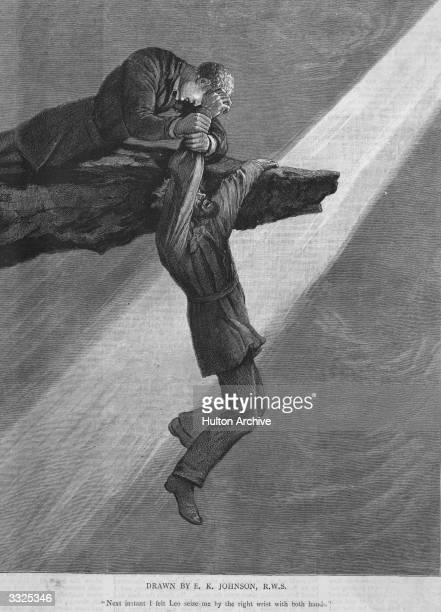 A shaft of light illuminates a man hanging on to an overhanging rock his wrist grasped by a rescuer above him From 'She' by Rider Haggard The caption...