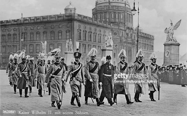 Kaiser Wilhelm II of Germany with his sons Prince Adalbert August Wilhelm Plessen the Crown Prince Prince Eitel and Oskar in Berlin All are wearing...