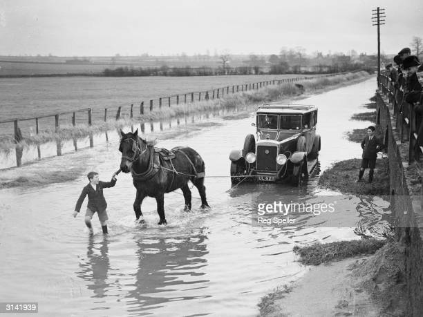 A horse comes to the assistance of a car stranded on the Carlton and Harrold Road near Bedford