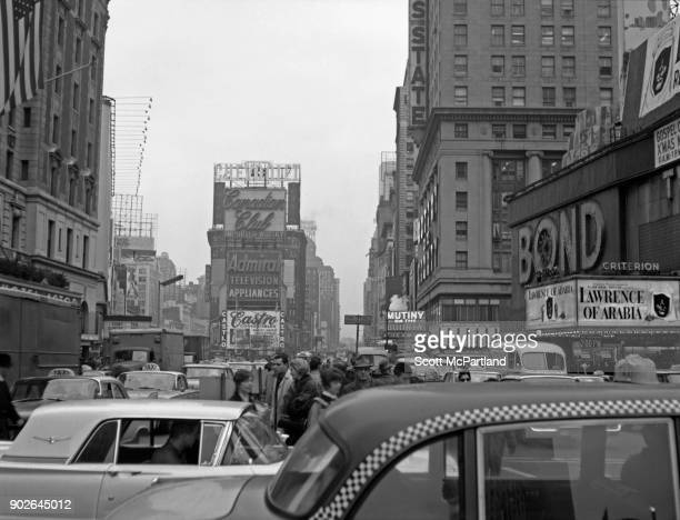 Vehicles and pedestrians create gridlock on Seventh avenue in the heart of Times Square New York