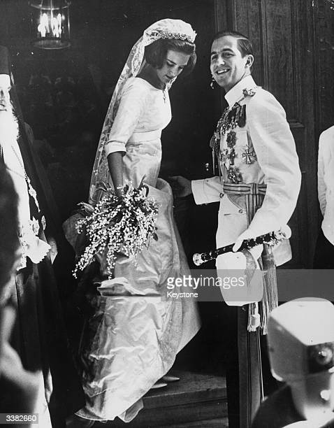 King Constantine II of the Hellenes and Queen AnneMarie of the Hellenes nee Princess AnneMarie of Denmark during their wedding day in Athens