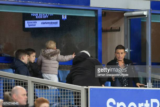 1st January 2018 Premier League Everton v Manchester United Coleen Rooney emerges from a hospitality box to watch the match