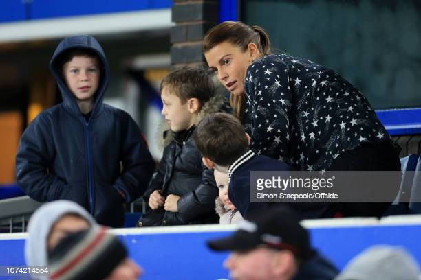1st January 2018 Premier League Everton v Manchester United Coleen Rooney watches from a hospitality box