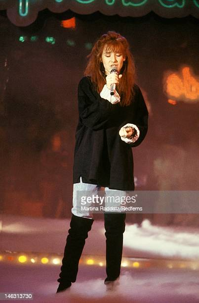 American singer Tiffany performs live on stage in Germany circa 1989