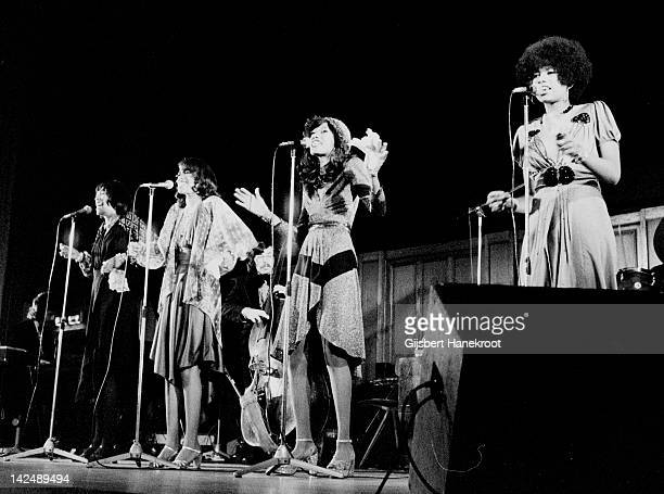 American vocal group The Pointer Sisters featuring Ruth Pointer Bonnie Pointer June Pointer and Anita Pointer perform live on stage in Amsterdam...
