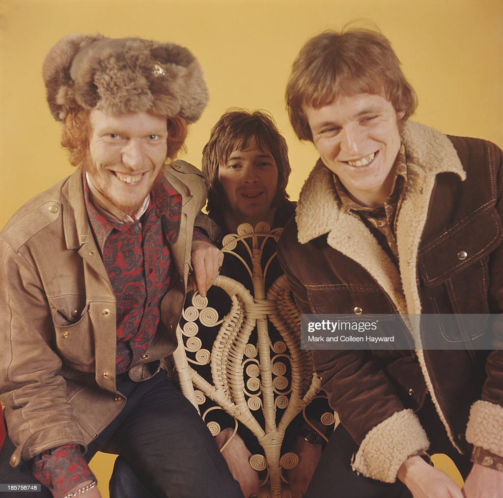British rock group Cream posed at Fleet Studios in London in 1966. Left to right: drummer Ginger Baker, guitarist Eric Clapton and bassist Jack Bruce.