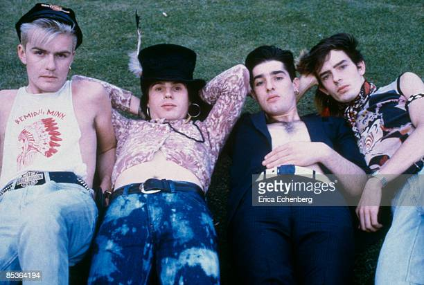 British rock group The Cult posed in London in 1984 Left to right guitarist Billy Duffy singer Ian Astbury drummer Nigel Preston and bassist Jamie...