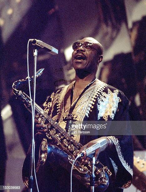 Cameroonian saxophonist Manu Dibango performs live on stage in Cannes France in January 1974