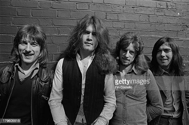 Dave Holland Glenn Hughes Pete MacKie and Mel Galley from English rock group Trapeze posed in London in 1973