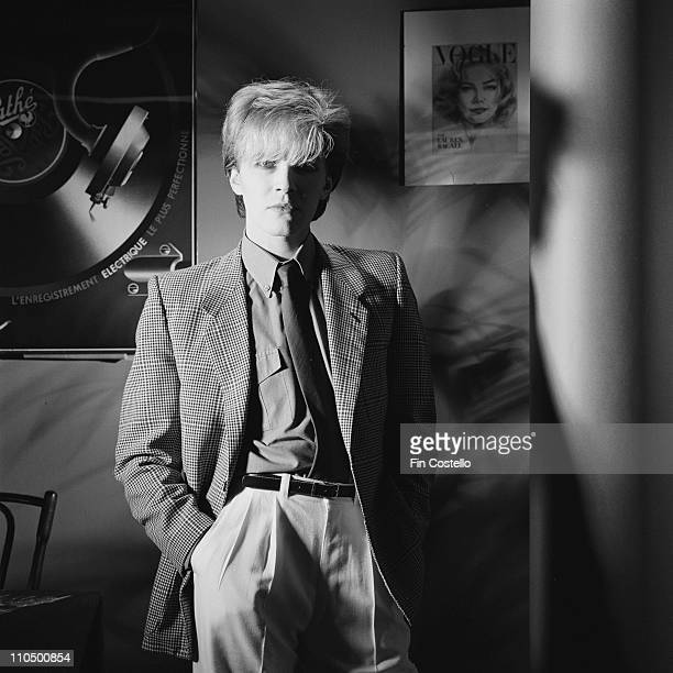 David Sylvian from Japan posed standing in a studio in London in January 1982