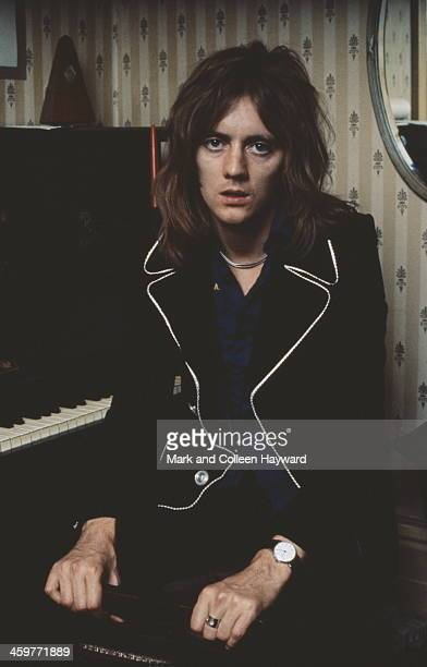 Drummer Roger Taylor from English rock group Queen posed in Freddie Mercury's flat Holland Road West Kensington London in early 1974