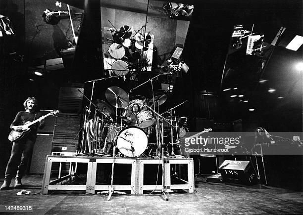 Dutch band Focus perform live on stage in Hilversum Netherlands in 1975 Left to right Jan Akkerman Colin Allen Bert Ruiter and Thijs van Leer