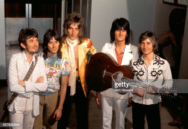 English group Faces posed backstage at BBC TV's Top Of The Pops show in 1971 Left to right Ronnie Lane Ian McLagan Rod Stewart Ronnie Wood and Kenney...