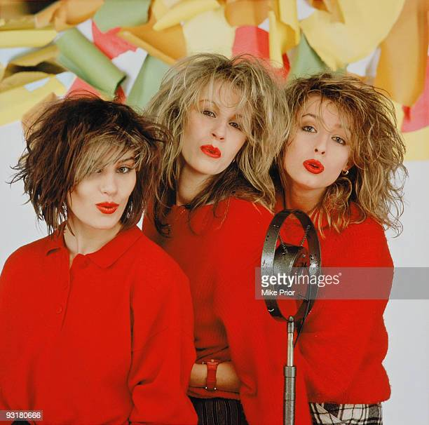 English pop group Bananarama posed in London in 1983: Left to Right: Siobhan Fahey, Sara Dallin and Keren Woodward.