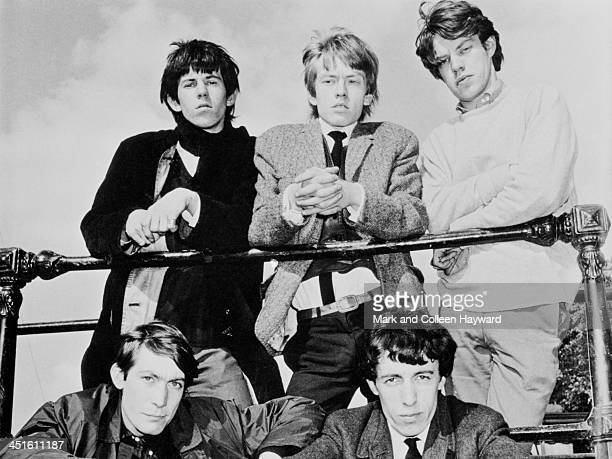 English rock and roll group The Rolling Stones posed by the river Thames in London in 1963 Clockwise from top left Brian Jones Keith Richards Mick...