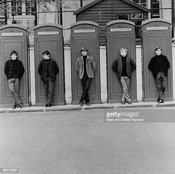 English rock and roll group The Rolling Stones posed standing in front of telephone boxes in London in 1963 Left to right Keith Richards Bill Wyman...
