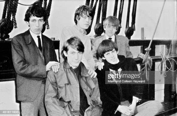 English rock and roll group The Rolling Stones posed on a ship on the river Thames in London in 1963 Left to right Bill Wyman Charlie Watts Mick...