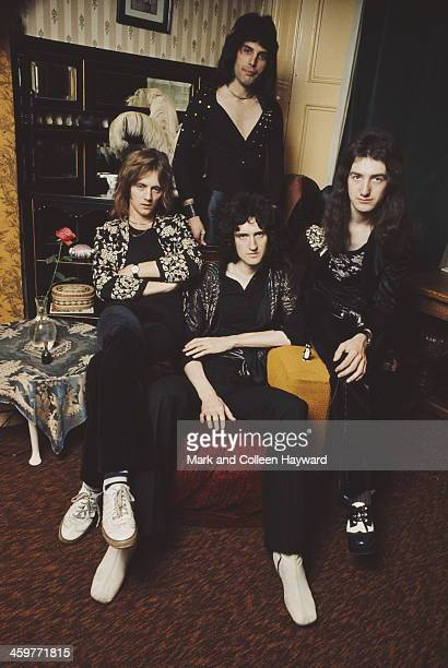 English rock group Queen posed in lead singer Freddie Mercury's flat Holland Road West Kensington London in early 1974 Left to right Roger Taylor...