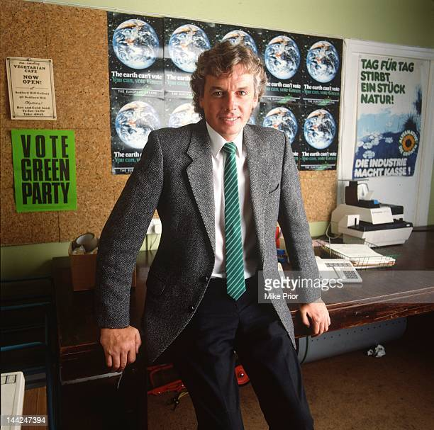 English writer and broadcaster David Icke, posed in his office in South London in 1987.