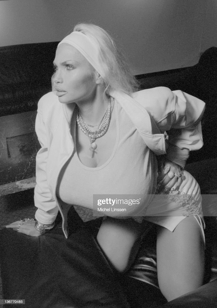 French actress and singer Lolo Ferrari posed in the