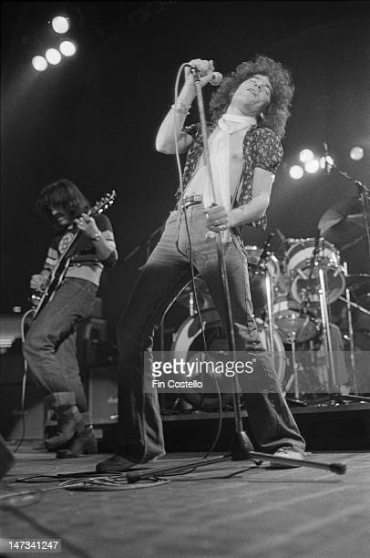 guitarist Manny Charlton and singer Dan McCafferty from Scottish rock band Nazareth perform live on stage in Providence Rhode Island USA in January...