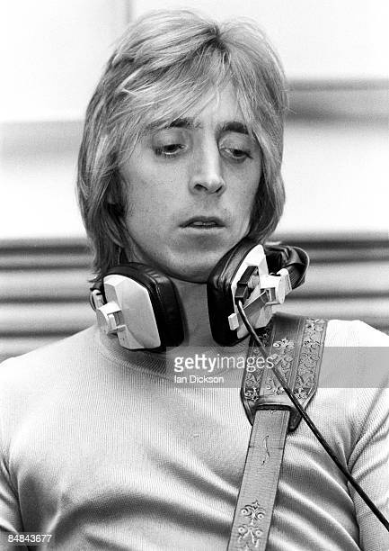 Guitarist Mick Ronson from The Hunter Ronson Band posed at Air Studios in Oxford Street London in 1974