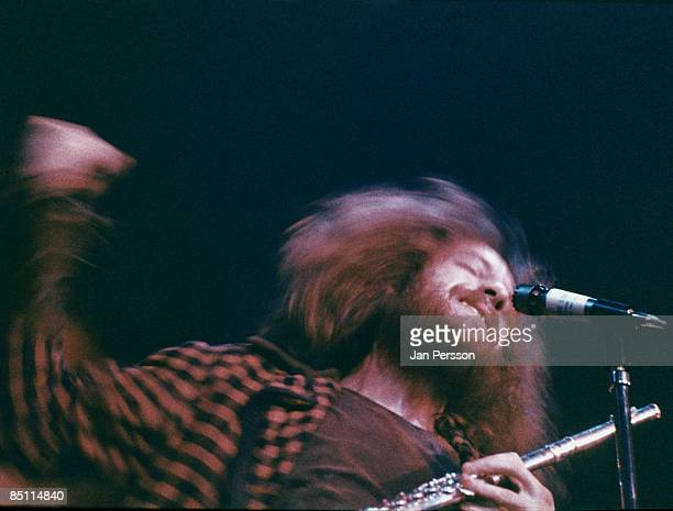 Ian Anderson from Jethro Tull performs live on stage in Copenhagen Denmark in January 1971
