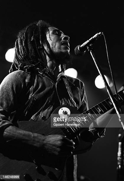 Jamaican musician Bob Marley performs live on stage with the Wailers in Voorburg Netherlands in 1976
