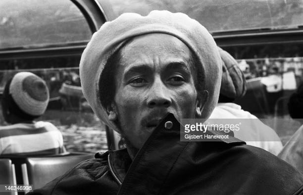 Jamaican reggae musician Bob Marley posed on a river boat in Amsterdam Netherlands in 1976