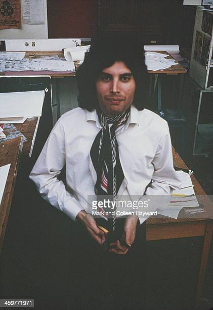 Lead singer Freddie Mercury from English rock group Queen posed at Ealing Art College in London in 1969