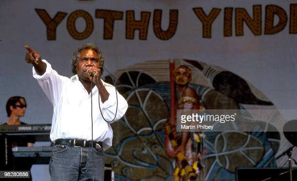1st JANUARY: Mandawuy Yunupingu of Yothu Yindi performs on stage at Big Day Out in January 2000 in Melbourne, Australia.