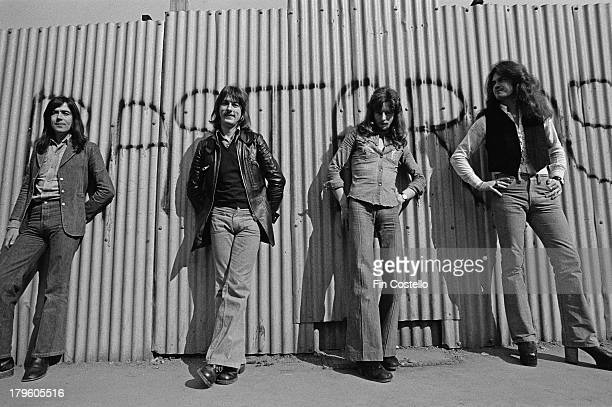 Mel Galley Dave Holland Pete MacKie and Glenn Hughes from English rock group Trapeze posed in London in 1973