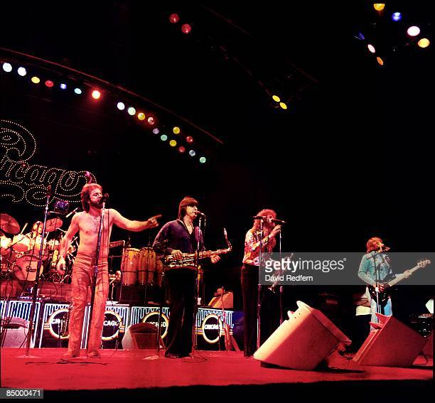 Photo of American group CHICAGO performing live on stage at Hammersmith Odeon in London in January 1977
