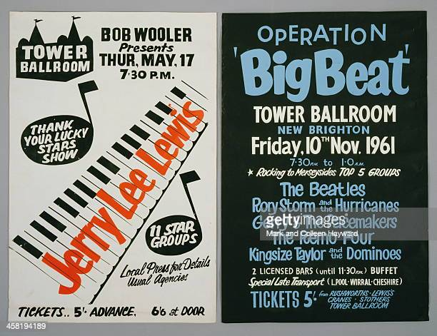 Photograph of two posters advertising concerts at the Tower Ballroom in New Brighton Wirrell Peninsula Left hand poster promotes a Jerry Lee Lewis...