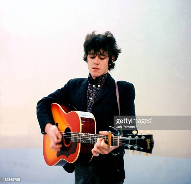 Scottish singer and guitarist Donovan performs live on stage in a TV studio in Copenhagen Denmark in 1966
