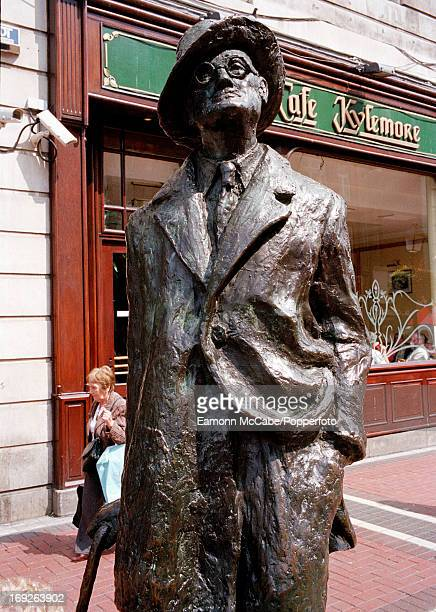 View of a statue of Irish novelist James Joyce in Earl Street Dubin