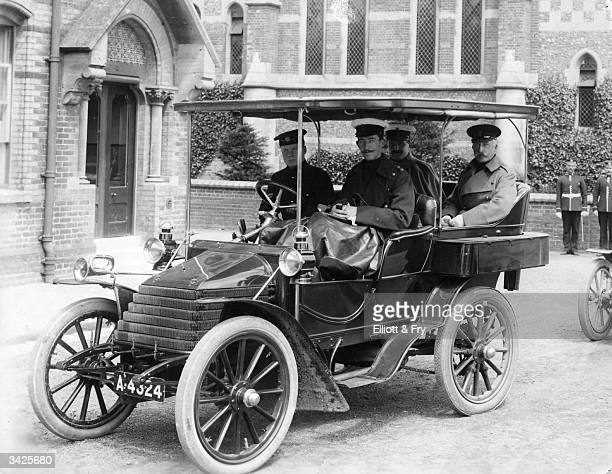 The Duke of Connaught 3rd Son of Queen Victoria and Field Marshal with his staff in his car