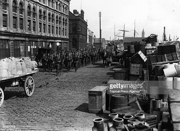 A Belfast quayside as the Irish army is sent in in an attempt to end the dock strike