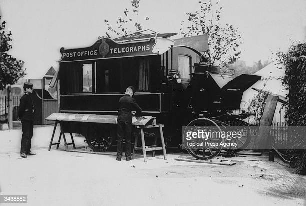 A special travelling Post Office telegraph van in use at Lord's cricket ground London for the international between England and South Africa