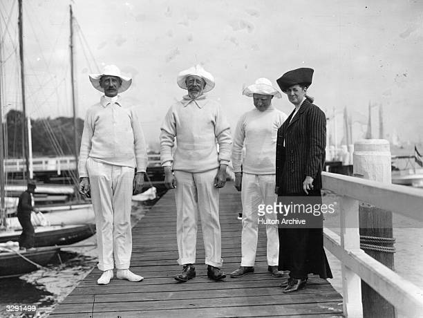Prince Henry of Prussia the younger brother of Kaiser Wilhelm of Germany yachting with Mr and Mrs R Krogmann and friend at Kiel which passed to...