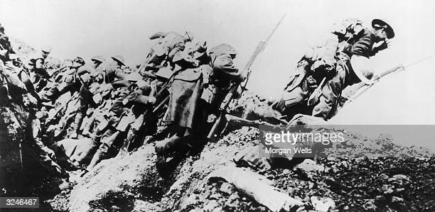 British troops climbing from their trench on the first day of 'The Big Push' on the Somme during World War I